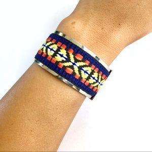 Jewelry - Silver Cuff Multicolor Tribal Bracelet